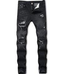 destroyed zipper skinny jeans