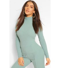 premium ribbed high neck top, green