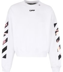 off-white logo detail cotton sweatshirt