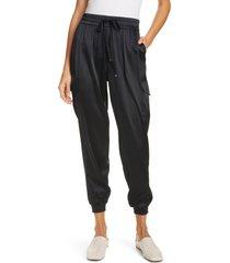 women's cami nyc elsie stretch silk joggers, size xx-small - black