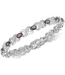 coated white quartz (7 ct. t.w.) & diamond accent bracelet link bracelet in sterling silver