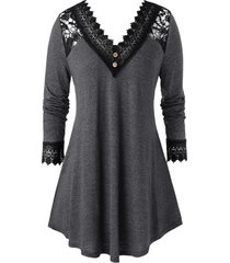 plus size crochet panel v neck long sleeve tunic tee
