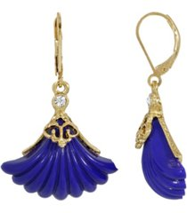 2028 women's gold tone blue fan stone drop euro wire earrings
