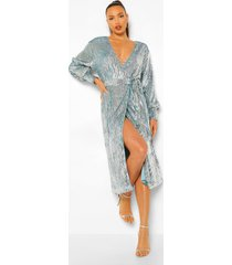 tall midi wikkel jurk met pailletten en ballonmouwen, silver