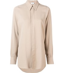 ami concealed button pointed collar shirt - neutrals
