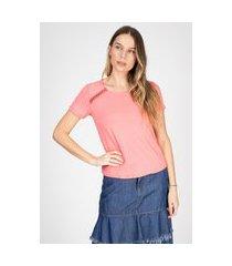 blusa t-shirt bloom detalhe ombros cor rosa antigo