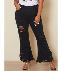 plus talla bolsillos laterales rasgados al azar diseño denim pantalones
