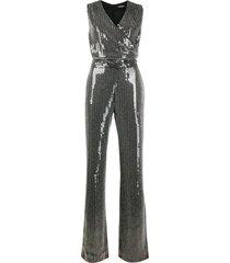 balmain sequin bead embellished jumpsuit - black