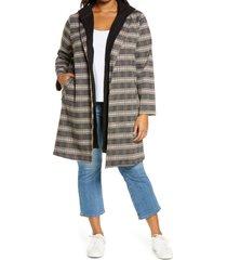 plus size women's melloday knit coat with removable hood, size 1x - black