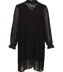 dress lace neck plus round neck knälång klänning svart zizzi