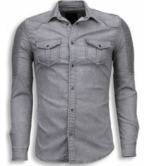 diele & co biker denim shirt grijs