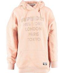 superdry roze oversized langere sweater hoodie met strass