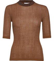 thin cotton rib t-shirts & tops short-sleeved brun ganni