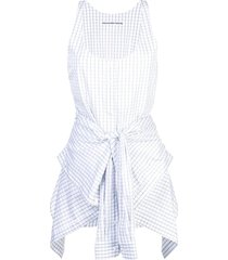 poplin tie waist romper white