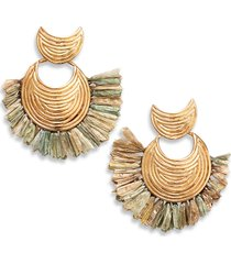 women's gas bijoux mini wave raffia earrings