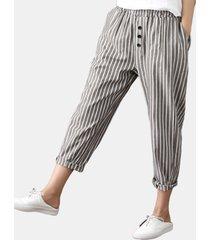 harem pantaloni a righe con bottoni