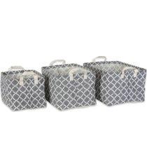 design imports pe coated cotton poly laundry bin lattice rectangle small set of 3