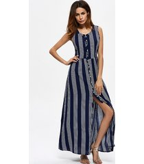 stripe slit button senza maniche abito maxi o-collo per le donne