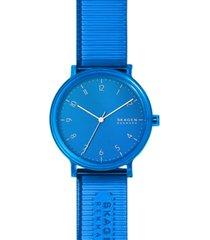 skagen men's aaren transparent blue polyurethane strap watch 41mm