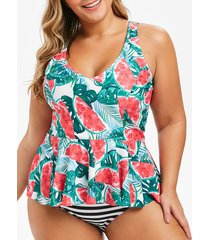 watermelon palm leaf striped plus size tankini swimsuit