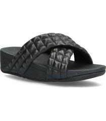 lulu padded shimmy suede slides shoes summer shoes flat sandals svart fitflop