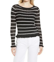 halogen(r) boatneck pointelle sweater, size medium p in black- white stripe at nordstrom