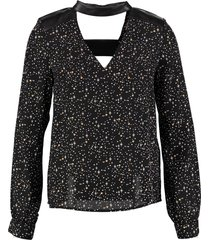 morgan zwarte polyester blouse met leerlook details valt kleiner
