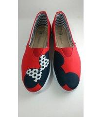 zapatos riva baletas casual minie mouse rojos