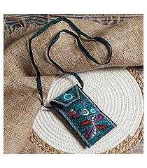 embroidered eyeglasses bag, 'embellished beauty in black' (peru)