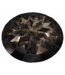 tapete mandala redondo de couro -tamanho 160 cm- kesck couro preto