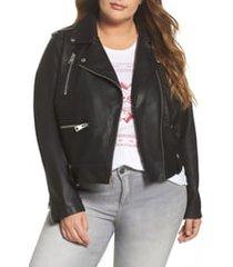 plus size women's levi's lamb touch faux leather moto jacket, size 3x - black