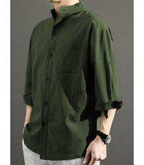hombre otoño casual stand collar llanura un solo bolsillo camisa
