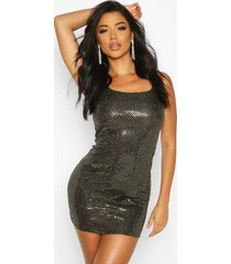 all over sequin square neck shift dress, gold