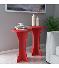mesas de canto conjunto 2 peças luck 100% mdf vermelho - artely