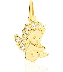 ciondolo angelo in oro giallo e zirconi per donna