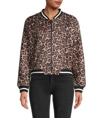 cat fight leopard-print bomber jacket