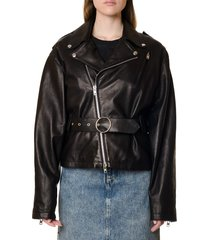 maison margiela black leather belted biker jacket