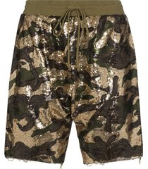 r13 sequinned cotton shorts - green