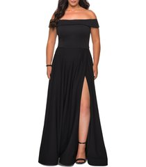 plus size women's la femme off the shoulder foldover neckline gown