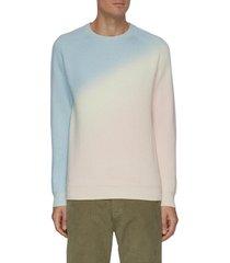diagonal gradient rib knit cashmere sweater