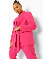 plus netter blazer met ceintuur, pink