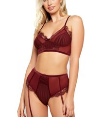 icollection women's high waist striped mesh and lace bra set