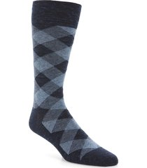 men's cole haan twist plaid socks, size one size - blue