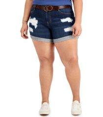 dollhouse trendy plus size belted boyfriend shorts