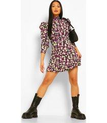 petite bloemenprint skater jurk met volle mouwen, purple