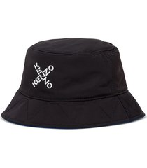 kenzo reversible cloche hat in nylon with logo