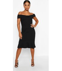 petite bow detail peplum hem dress, black