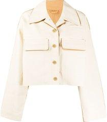acne studios cropped oversized two-tone jacket - neutrals