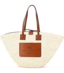 etro large tote in woven straw
