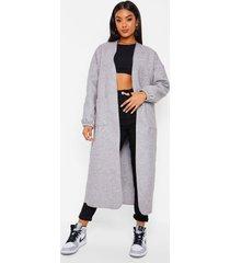 nepwollen jas met drop shoulder mouwen, grey
